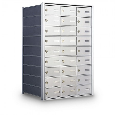 27 Door Private Use Rear Loading Horizontal Mailbox - Silver