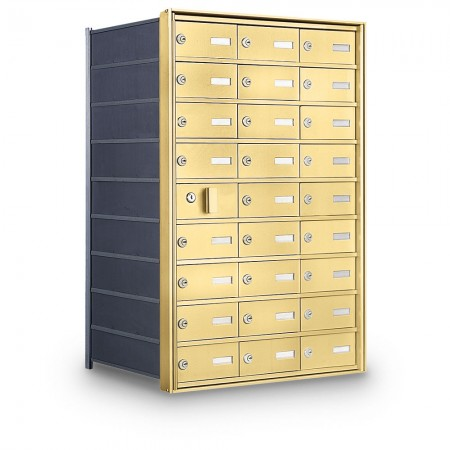 26 Door Private Use Front Loading Horizontal Mailbox - Gold
