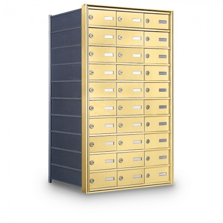 30 Door Private Use Rear Loading Horizontal Mailbox - Gold