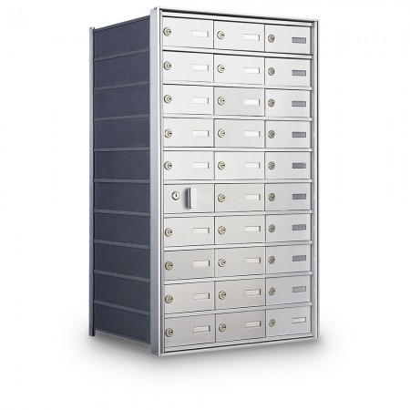 29 Door Private Use Front Loading Horizontal Mailbox - Silver