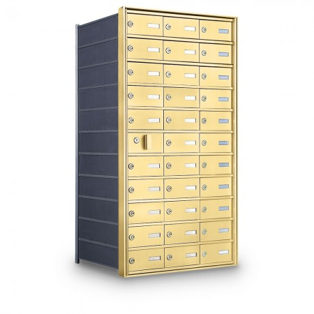 32 Door Private Use Front Loading Horizontal Mailbox - Gold