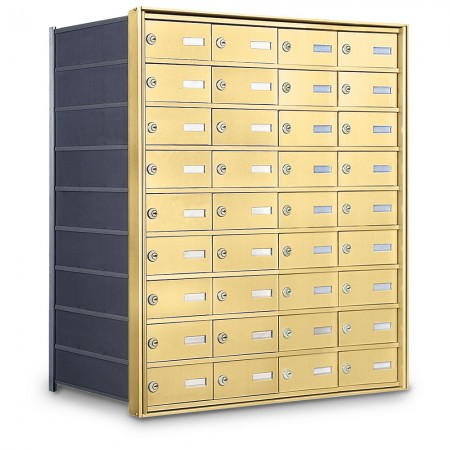 36 Door Private Use Rear Loading Horizontal Mailbox - Gold
