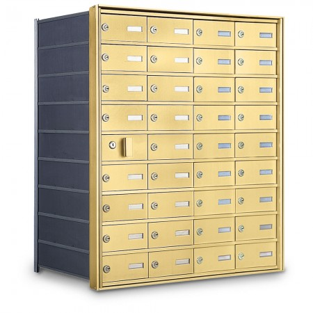 35 Door Private Use Front Loading Horizontal Mailbox - Gold