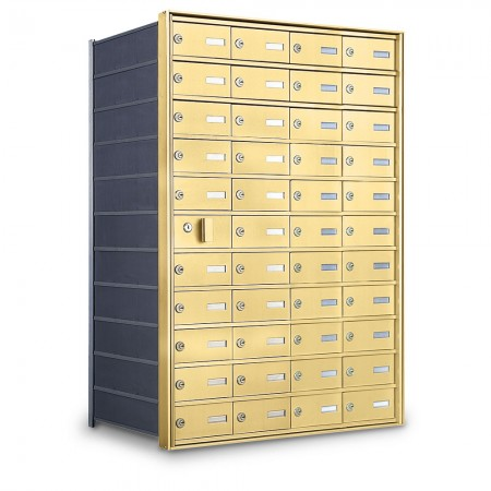 43 Door Private Use Front Loading Horizontal Mailbox - Gold