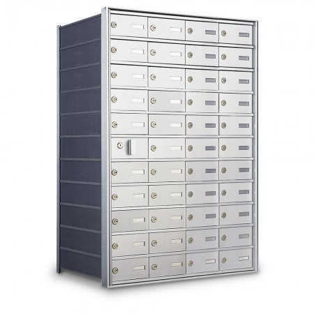 43 Door Private Use Front Loading Horizontal Mailbox - Silver