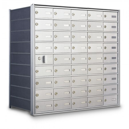 44 Door Private Use Front Loading Horizontal Mailbox - Silver