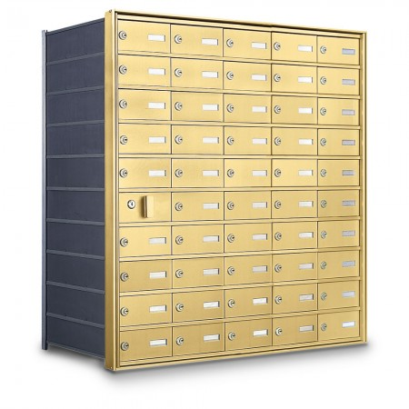 49 Door Private Use Front Loading Horizontal Mailbox - Gold