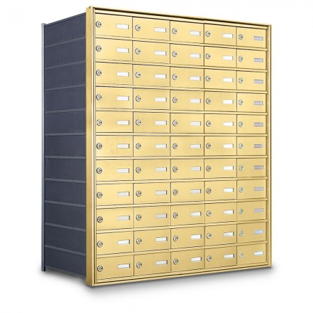 55 Door Private Use Rear Loading Horizontal Mailbox - Gold