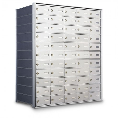 55 Door Private Use Rear Loading Horizontal Mailbox - Silver