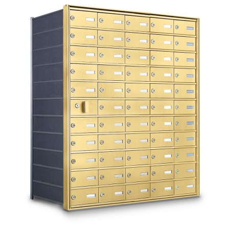 54 Door Private Use Front Loading Horizontal Mailbox - Gold