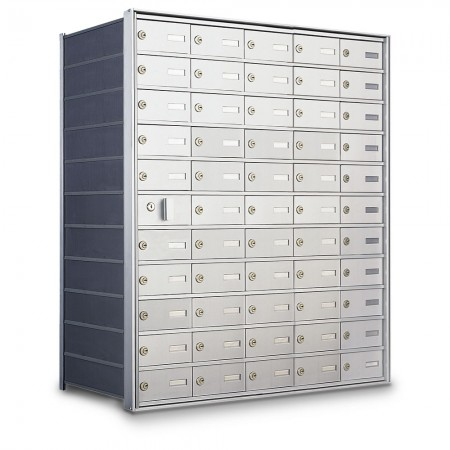 54 Door Private Use Front Loading Horizontal Mailbox - Silver