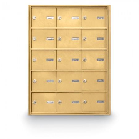 15 Door Rear Loading 4B+ Horizontal Mailbox - Gold