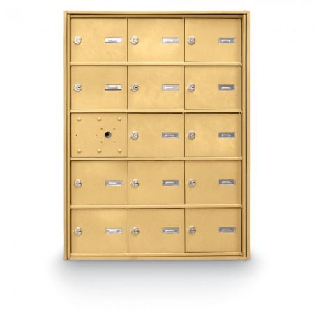 14 Door Front Loading 4B+ Horizontal Mailbox - Gold
