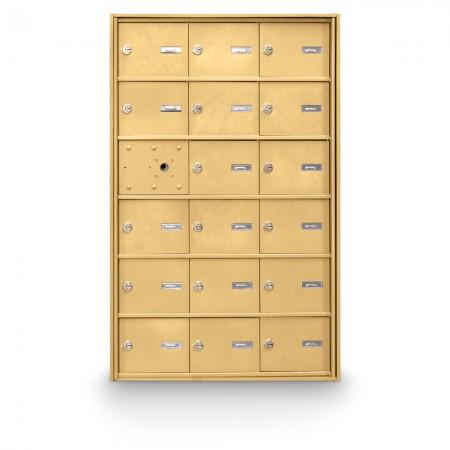 17 Door Front Loading 4B+ Horizontal Mailbox - Gold