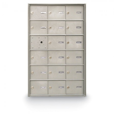 17 Door Front Loading 4B+ Horizontal Mailbox - Silver