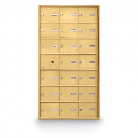 20 Door Front Loading 4B+ Horizontal Mailbox - Gold