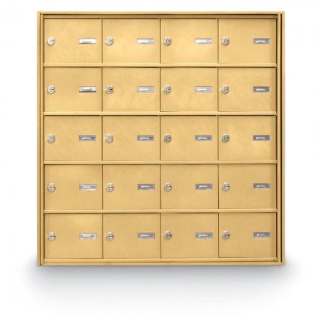 20 Door Rear Loading 4B+ Horizontal Mailbox - Gold