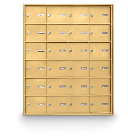 24 Door Rear Loading 4B+ Horizontal Mailbox - Gold