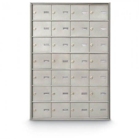 28 Door Rear Loading 4B+ Horizontal Mailbox - Silver