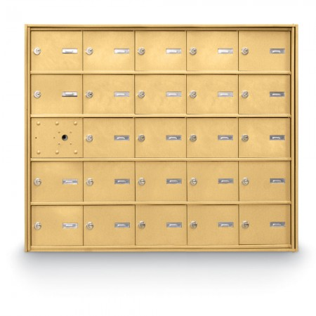 24 Door Front Loading 4B+ Horizontal Mailbox - Gold