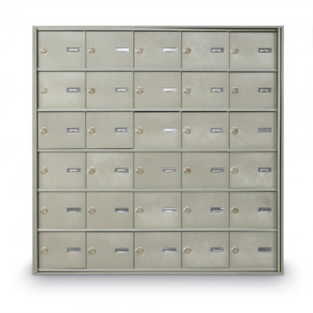 30 Door Rear Loading 4B+ Horizontal Mailbox - Silver