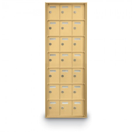 21 Door Private Use Rear Loading Horizontal Mailbox - Gold