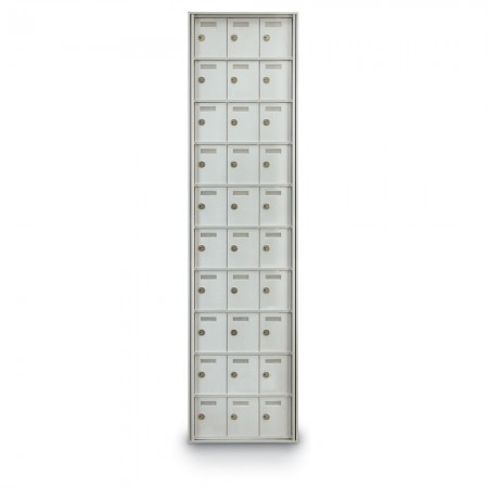 30 Door Private Use Rear Loading Horizontal Mailbox - Silver