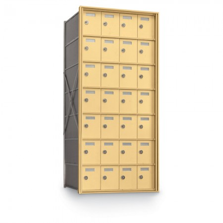 28 Door Private Use Rear Loading Horizontal Mailbox - Gold