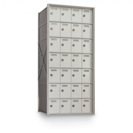 28 Door Private Use Rear Loading Horizontal Mailbox - Silver
