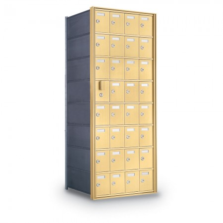 31 Door Private Use Front Loading Horizontal Mailbox - Gold