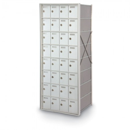 32 Door Private Use Rear Loading Horizontal Mailbox - Silver