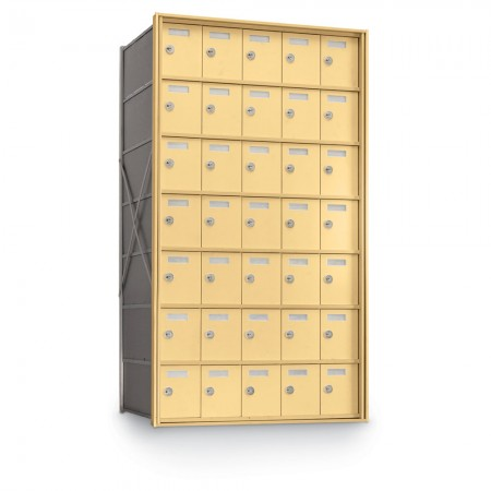35 Door Private Use Rear Loading Horizontal Mailbox - Gold