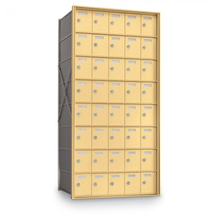 40 Door Private Use Rear Loading Horizontal Mailbox - Gold