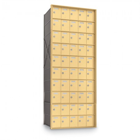 50 Door Private Use Rear Loading Horizontal Mailbox - Gold