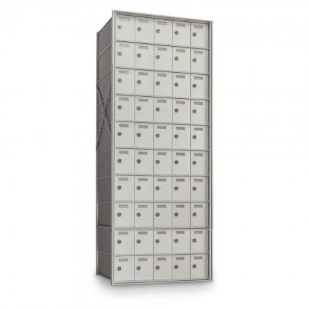 50 Door Private Use Rear Loading Horizontal Mailbox - Silver