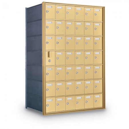 41 Door Private Use Front Loading Horizontal Mailbox - Gold