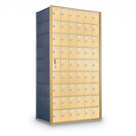 53 Door Private Use Front Loading Horizontal Mailbox - Gold