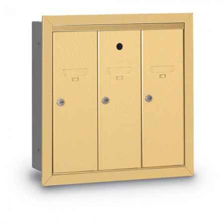 3 Door Recessed Vertical Mailbox - Gold