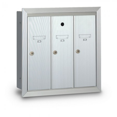 3 Door Recessed Vertical Mailbox
