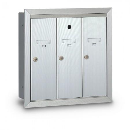 3 Door Recessed Vertical Mailbox - Silver