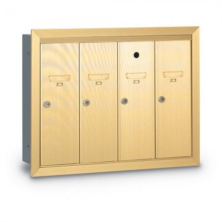 4 Door Recessed Vertical Mailbox - Gold