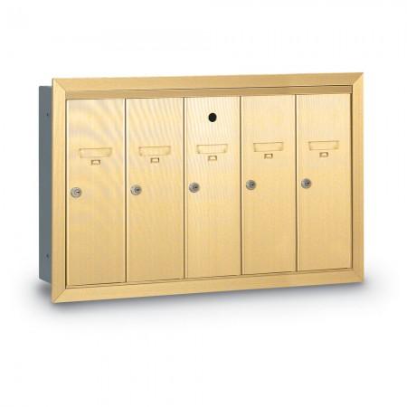 5 Door Recessed Vertical Mailbox - Gold