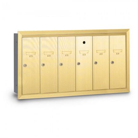 6 Door Recessed Vertical Mailbox - Gold
