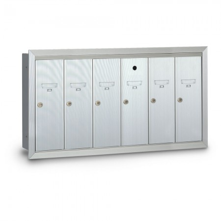 6 Door Recessed Vertical Mailbox - Silver