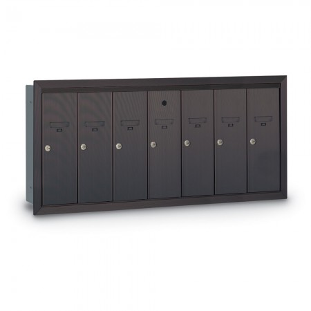7 Door Recessed Vertical Mailbox - Bronze