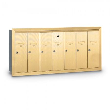 7 Door Recessed Vertical Mailbox - Gold