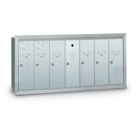 7 Door Recessed Vertical Mailbox - Silver