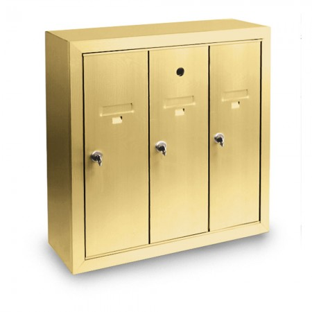 3 Door Surface Mount Vertical Mailbox - Gold