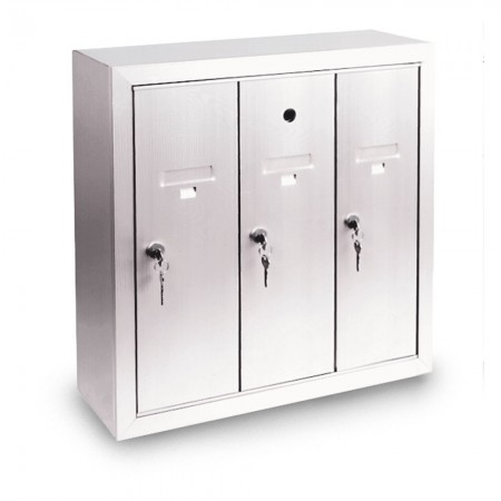 3 Door Surface Mount Vertical Mailbox - Silver
