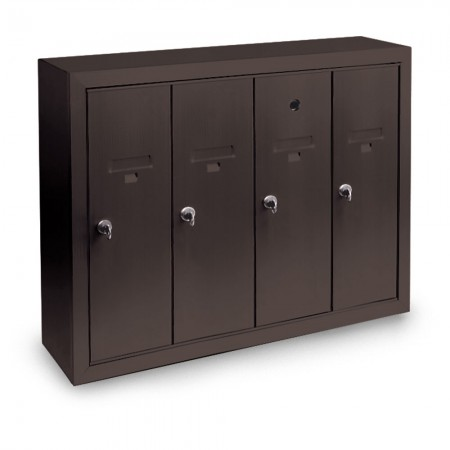 4 Door Surface Mount Vertical Mailbox - Bronze